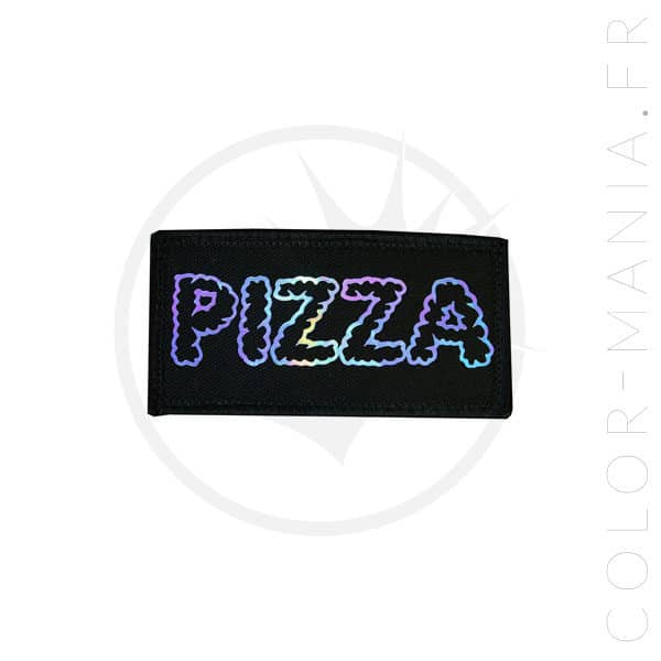 Patch Pizza Noir Holographique | Color-Mania