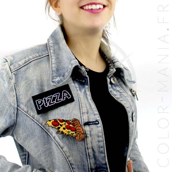 Parche de pizza adhesiva y holográfica de hierro | Color-Mania