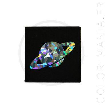 Patch Saturne Holographique Noir | Color-Mania