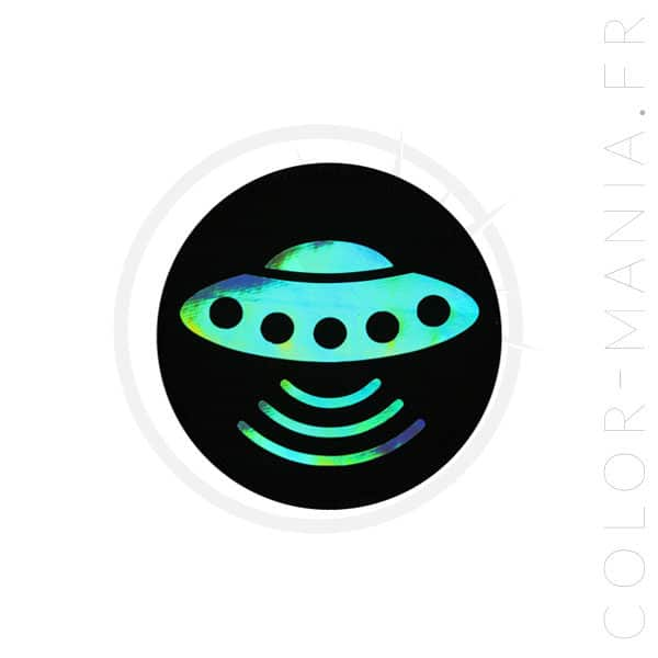 Patch Soucoupe Volante Noir Holographique | Color-Mania