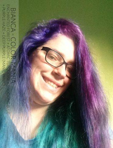 Gracias Bianca! Bosque Encantado, Turquesa Atómica, Impactante Azul, Haze Púrpura y Deep Purple Dream- Pánico Maníaco