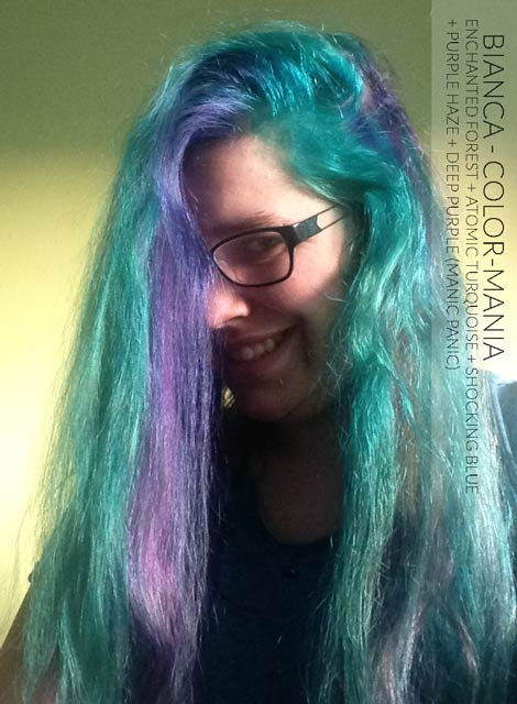 Merci Bianca ! Enchanted Forest, Atomic Turquoise, Shocking Blue, Purple Haze et Deep Purple Dream- Manic Panic