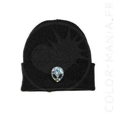 Bonnet Noir Alien Holographique   Color-Mania