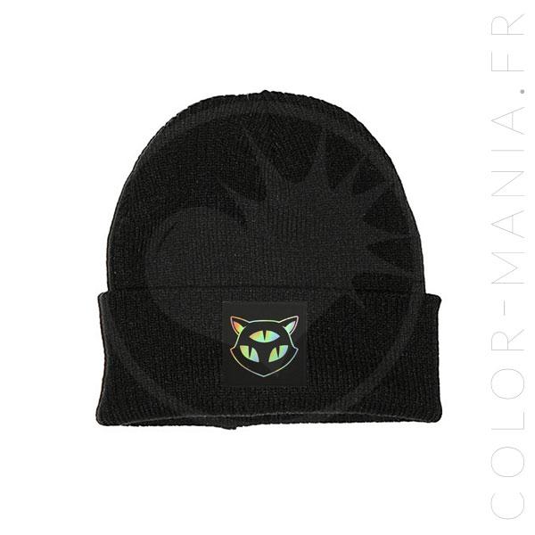 Bonnet Noir Chat 3 Yeux Holographique | Color-Mania