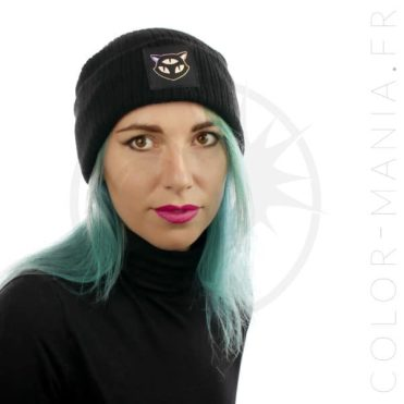 Bonnet Noir Chat 3 Yeux Holographique | Color-Mania