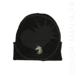 Bonnet Noir Licorne Holographique | Color-Mania