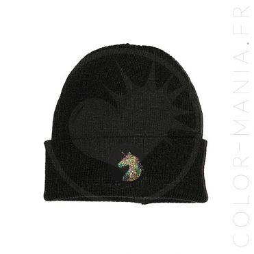 Bonnet Noir Licorne Holographique   Color-Mania