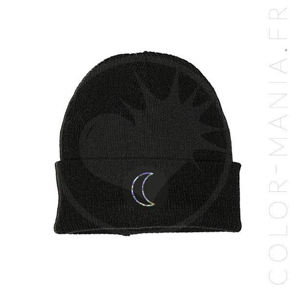 Bonnet Noir Lune Holographique   Color-Mania
