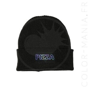 Bonnet Noir Pizza Holographique | Color-Mania