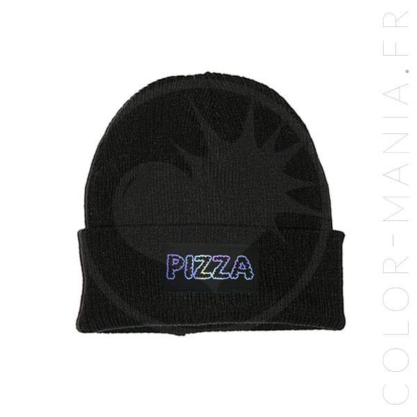 Sombrero de pizza negro holográfico | Color-Mania