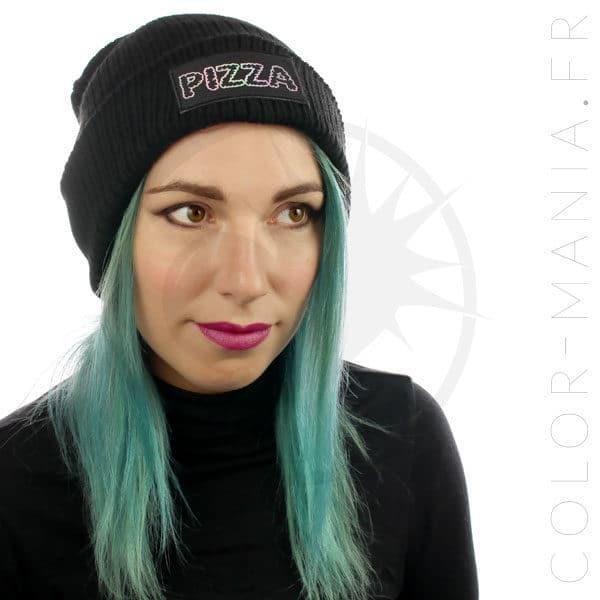Bonnet Noir Pizza Holographique | Color-Mania