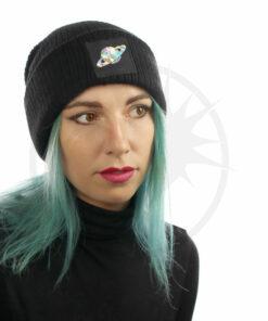 Bonnet Noir Saturne Holographique | Color-Mania