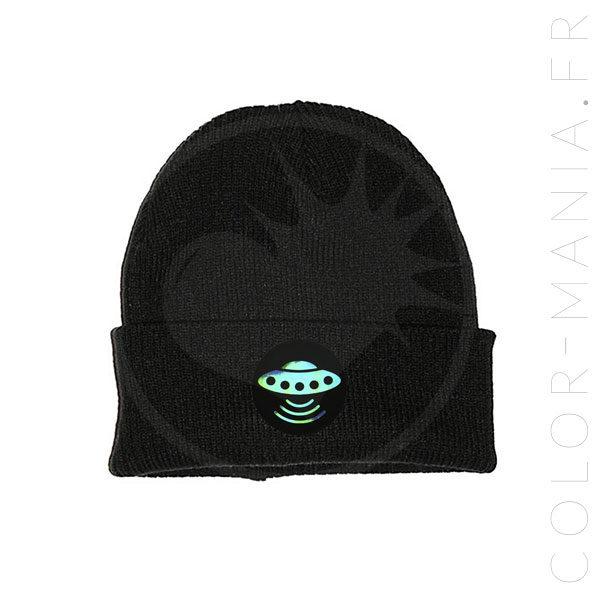 Bonnet Noir Soucoupe Volante Holographique | Color-Mania