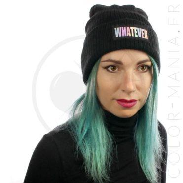 Bonnet Noir Whatever Holographique | Color-Mania