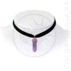 Collier Ras-de-Cou Velours Améthyste Violette | Color-Mania