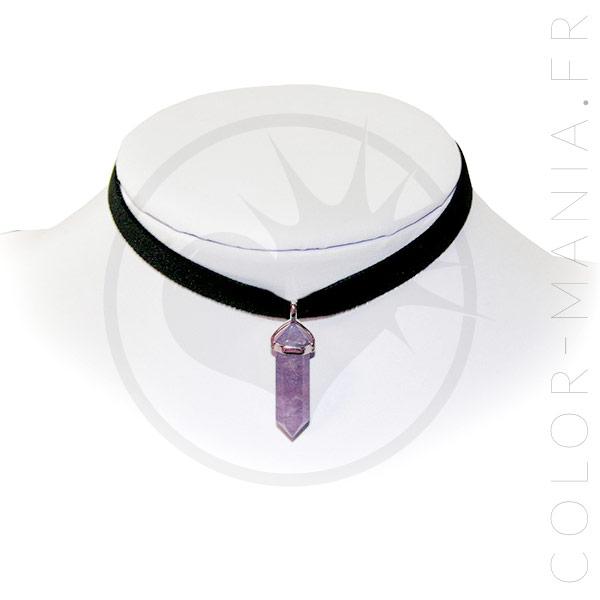 Collier Ras-de-Cou Velours Améthyste Violette   Color-Mania