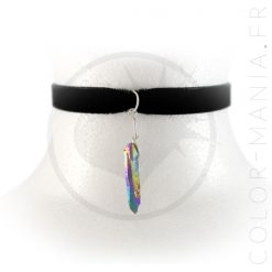 Collier Ras-de-Cou Velours Cristal Arc-en-Ciel Pétrole | Color-Mania