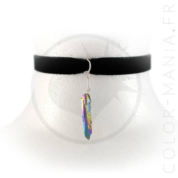 Collier Ras-de-Cou Velours Cristal Arc-en-Ciel Pétrole | Color-Mania