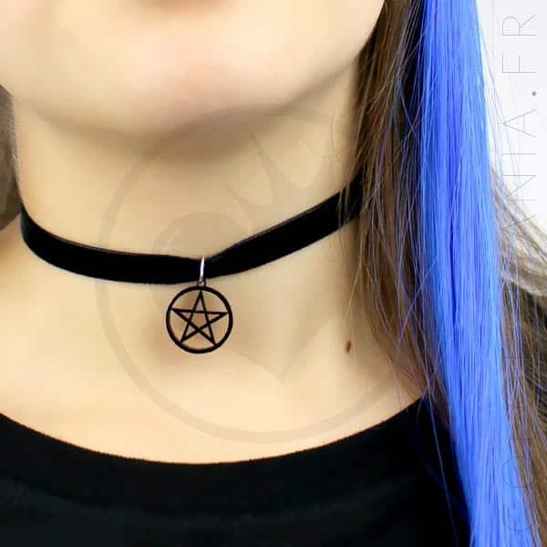 Collier Ras de Cou Velours Pentagramme Noir | Color-Mania