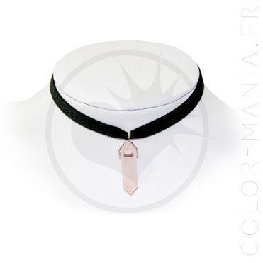 Collier Ras-de-Cou Velours Quartz Rose | Color-Mania