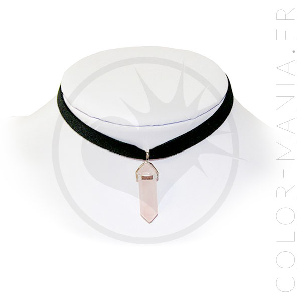 Collier Ras-de-Cou Velours Quartz Rose | Color-Mania
