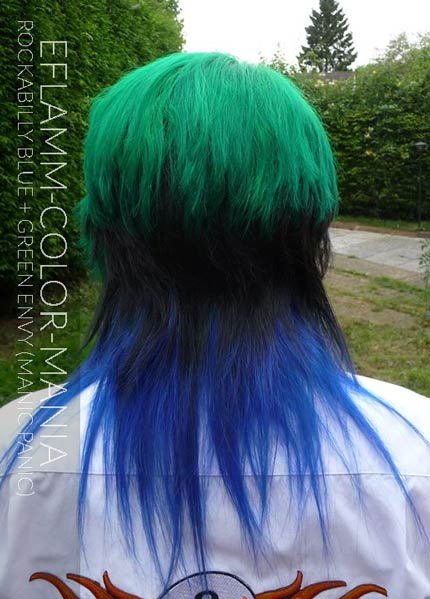 Merci Efflamm ! Coloration Cheveux Bleu Rockabilly Blue et Green Envy - Manic Panic