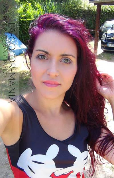 Merci Leila ! Coloration Cheveux Rouge Vampire Red (Manic Panic) sur base châtain