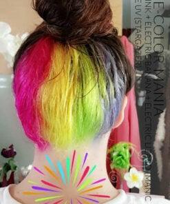 Grazie Marie! Hot Pink Hot, Electric Banana, Electric Lizard (Manic Panic) e Turquoise UV (Stargazer)