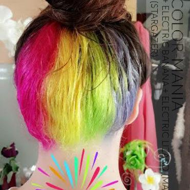 Merci Marie ! Hot Hot Pink, Electric Banana, Electric Lizard (Manic Panic) et Turquoise UV (Stargazer)