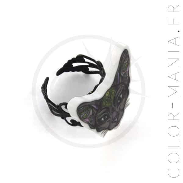 Bague Noire Chat Sphynx Mystique | Color-Mania
