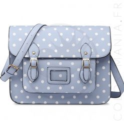 Sac Cartable Satchel Bleu Ciel à Pois | Color-Mania