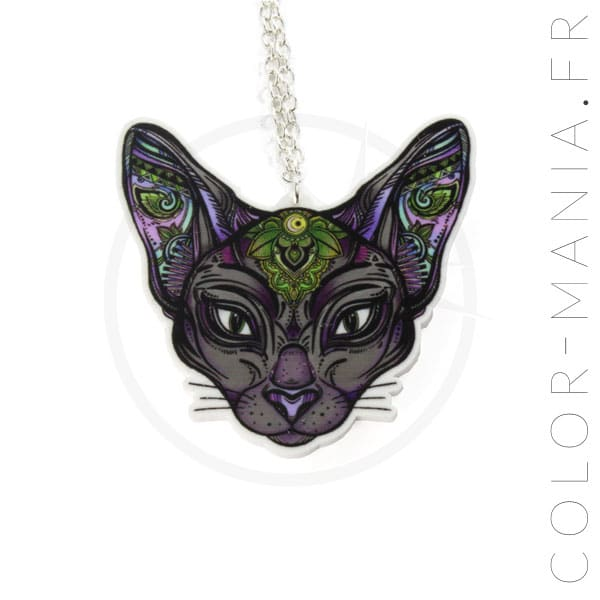 Collier Argent Chat Sphynx Mystique | Color-Mania