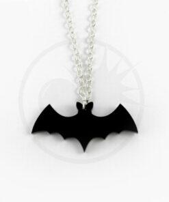 Collar de plata de murciélago negro | Color-Mania