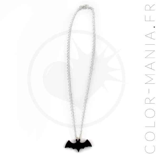 Collier Argent Chauve-Souris Noire | Color-Mania