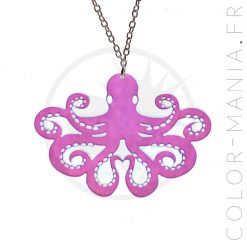 Collier Argent Pieuvre Transparent Irisé | Color-Mania