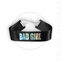 Collier Ras-de-Cou Noir Bad Girl Holographique | Color-Mania