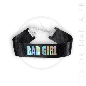 Collar de gargantilla holográfico Bad Girl Black | Color-Mania