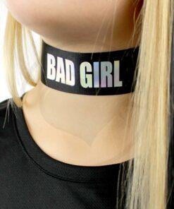 Collier Ras-de-Cou Noir Bad Girl Holographique | Color-Mania