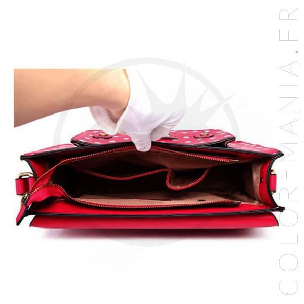 Sac Cartable Satchel Rose à Pois | Color-Mania