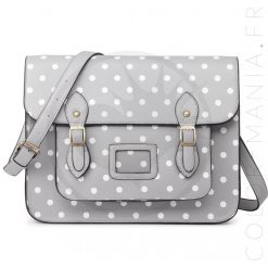 Sac Cartable Satchel Gris à Pois | Color-Mania
