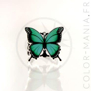 Bague Papillon Vert et Noir Curiology | Color-Mania