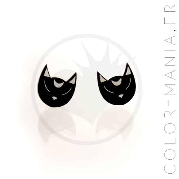 Boucles d'Oreilles Têtes de Chat Noir | Color-Mania