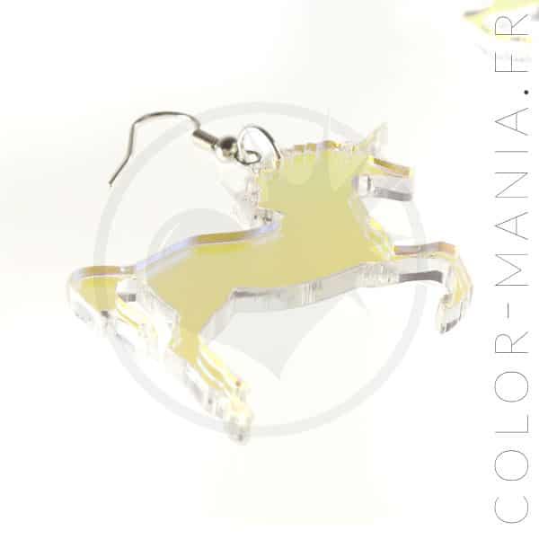 Boucles d'Oreilles Licornes Transparent Irisé | Color-Mania