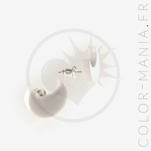 Boucles d'Oreilles Croissant de Lune Blanc | Color-Mania