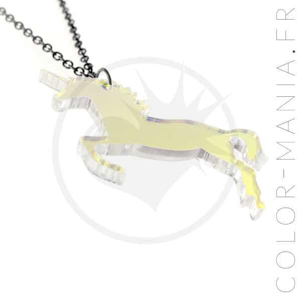 Collier Licorne Transparent Irisé   Color-Mania