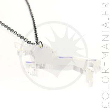 Collier Licorne Transparent Irisé | Color-Mania