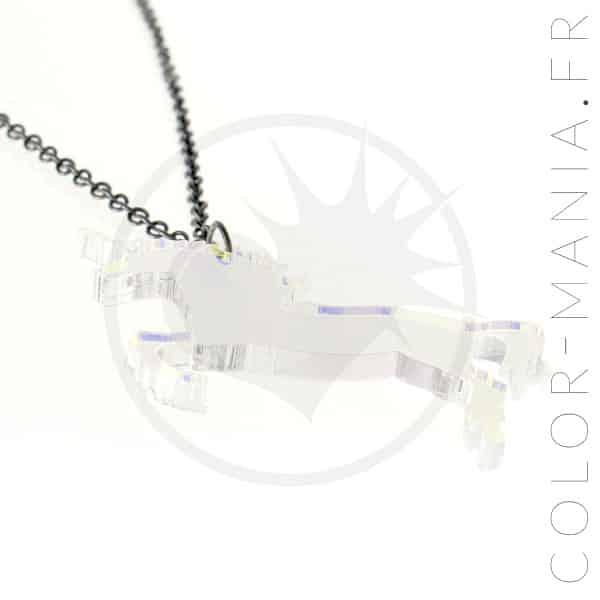 Collier Licorne Transparent Irisé | Color-Mania