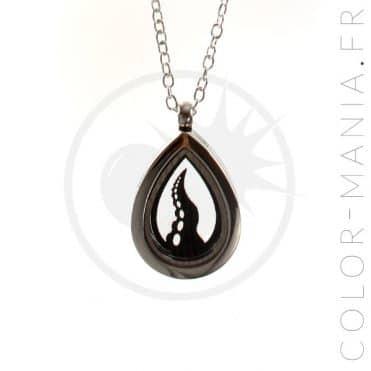 Collier Médaillon Ouvrable Tentacule Noire | Color-Mania