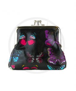 Mariposa estampado Retro Monedero Negro | Color-Mania