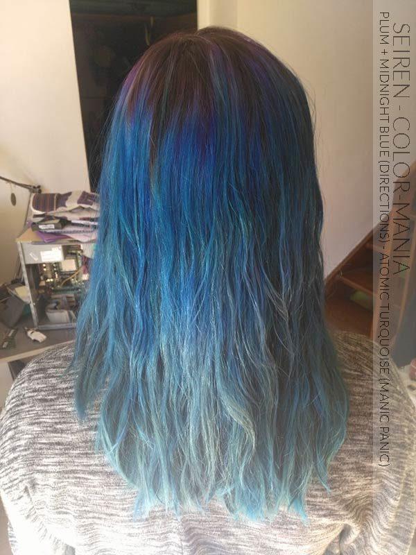 Merci Seiren :) Coloration Cheveux Violet Prune et Bleu Minuit – Directions, Pointes Atomic Turquoise - Manic Panic